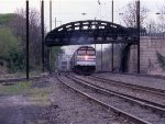 The eastbound Broadway thunders along on the old PRR jointed rail
