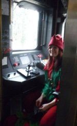Mallory the elf in the cab