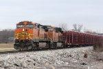 BNSF 4681 Leads a loaded rail train down the Hannibal Sub.
