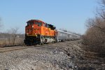 BNSF 9011 Leads a BNSF OCS train up the Hannibal Sub.