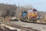 BNSF 900 Leads the H-GALMEM around the curve in Old Monroe Mo.