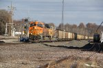 BNSF 6396 Leads a coal load through the town of Old Monroe Mo.