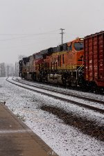 "BNSF 8062 ""Pumpkin"" in the snow"