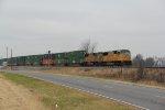 UP 4256 Rips into the siding at Randles Mo.