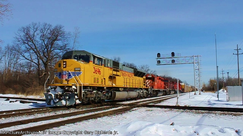 UP 3696, DME 6089, CP 9831, & CP 9508