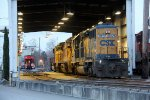 CSX 8128 and UP 9235 in the maintenance shed at Belt Line Yard