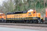 BNSF 2628 idling along Schuster Parkway