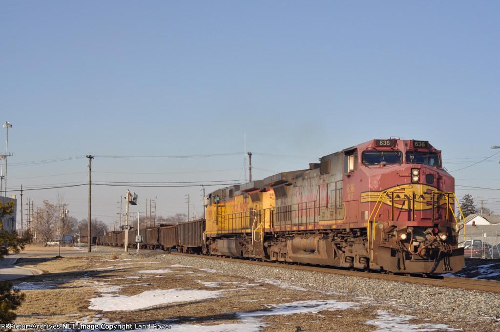 BNSF 636 On NS 60 W Eastbound