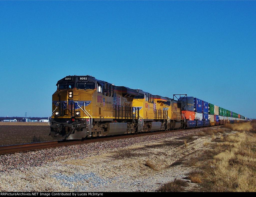 UP 8092 westbound UP intermodal train