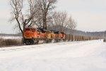BNSF 9022 Heads up a empty coal past Bruns siding..