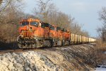 BNSF 5923 Rolls a empty coal train out of the woods..