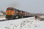2 Dash9's lead the BNSF H-GALMEM Sb out of Old Monroe Mo.