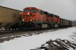 BNSF 6191 Heads up a empty coal roaring up the Hannibal Sub.