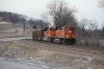 BNSF 6113 Leads a SB coal load past the new siding called Bruns.