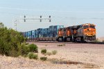 BNSF 7236 leads an eastbound container train