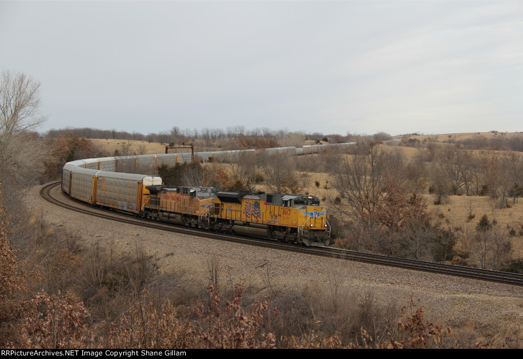 UP 8613 Leads a rack train down hill into Hart Mo.