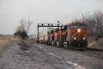BNSF 6641 Roars up hill with a stack train in tow..
