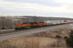 BNSF 5630 Roars east with a stack train in tow.