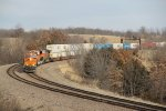 BNSF 7145 Rounds the curve at Hart Mo.