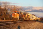 BNSF 7287 Gleams into the setting Sun.