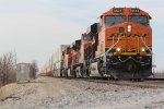 BNSF 6505 Brand new C4 leads a stack train east.