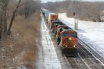BNSF 6659 Roars east with a stack train.