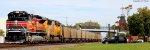 SP heritage leads west coal train on csx in Berea Ohio.