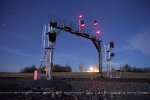 Night shot of the Old Signal bridge at Winston, outside Culpeper. The new signals on either side waiting to be activated.