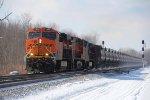BNSF 7163 leads EB crude oil train thru CB 382