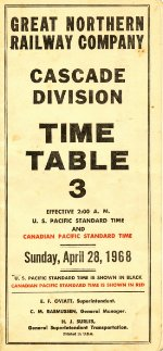 GN Cascade Division timetable