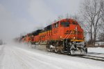 BNSF 9261 kicks up a blizzard at CP 382
