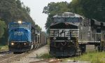 Coal train passes pushers