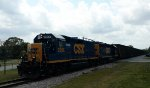 CSX 2368 & 6968 lead a string of empty woodchip hoppers northbound