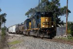 CSX 4025 & 4036 roll east from Track 2 to the single main with D707