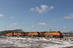 BNSF 6208 leads lite power up the Hannibal Sub.