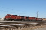CP 9586&9646 sit tied down on a potash train on the TRRA Railroad.