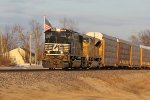 NS 2588 Leads NS 239 into the setting sun on the Saint Louis District.