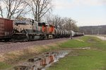 BNSF 9663 Leads the Local up the Hannibal Sub..
