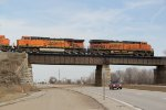 BNSF 6674 Leads Ns 111 over the TRRA.