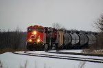CN 2843 leads the next southbound, a unit crude oil train, grinding over the hill