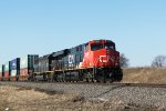 The parade of southbounds continues with CN 2285 leading a stacker