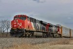 CN 2888 leads a northbound unit autorack past the siding