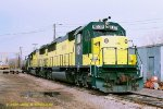 CNW 8002 & 8015 (SD60's) at Mason City IA. 11/19/1989  (Photo date approximate)