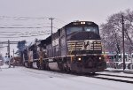 NS 6775 leads eastbound manifest freight past the railfan park in Macungie
