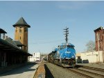 The Conrail Heritage Unit passes the old Reading RR station