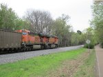 H2 & H3 BNSF ES44AC's lead this coal train east