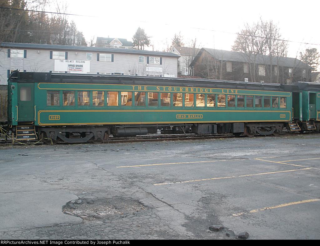 """The Stourbridge Line """"Irad Hawley"""" coach sitting on a siding in Hawley"""