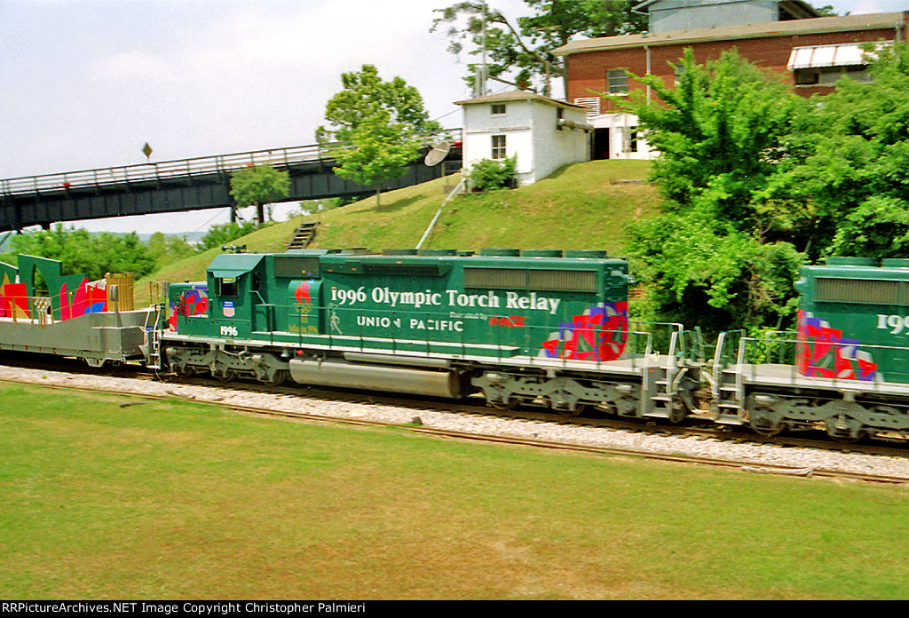 UP 1996 Leads the Olympic Torch Relay Train