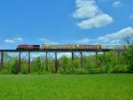 CP 8715 Heading west across Pope Lick Trestle.