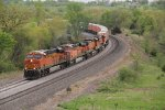 BNSF 6613 Leads a Z train up hill at Ethel Mo.